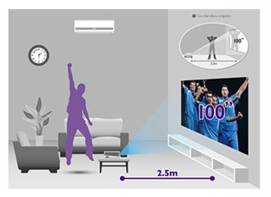 "HT1085ST Superior Short-throw Projection with 100"" of Big-Screen Enjoyment at less than 5ft"